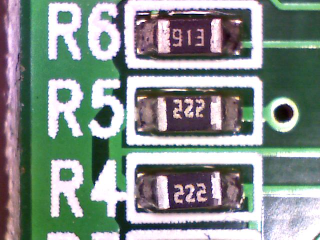 Magnified image of a surface mounted resistors