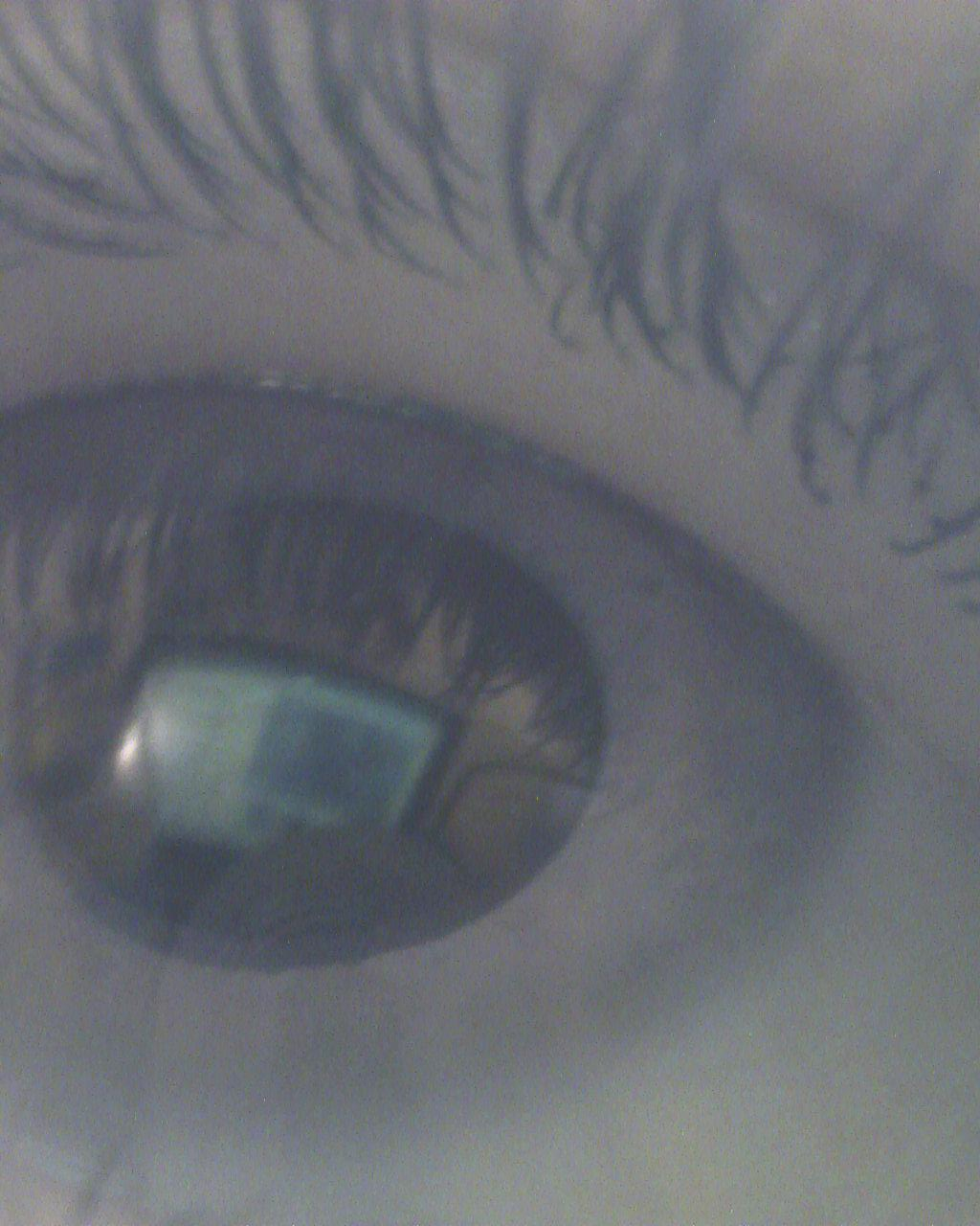 Clear reflection of my laptop in a black and white microscope image of my eye