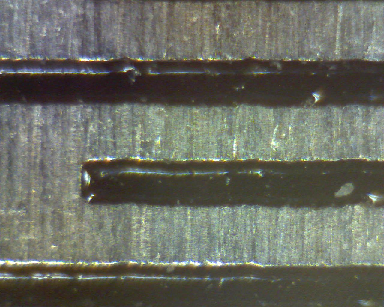Usb digital microscope's full zoom level of a ruler (markings at 0.5mm)