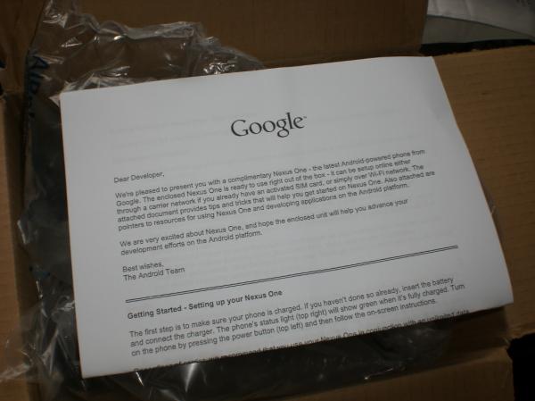 Google device seeding nexus one letter