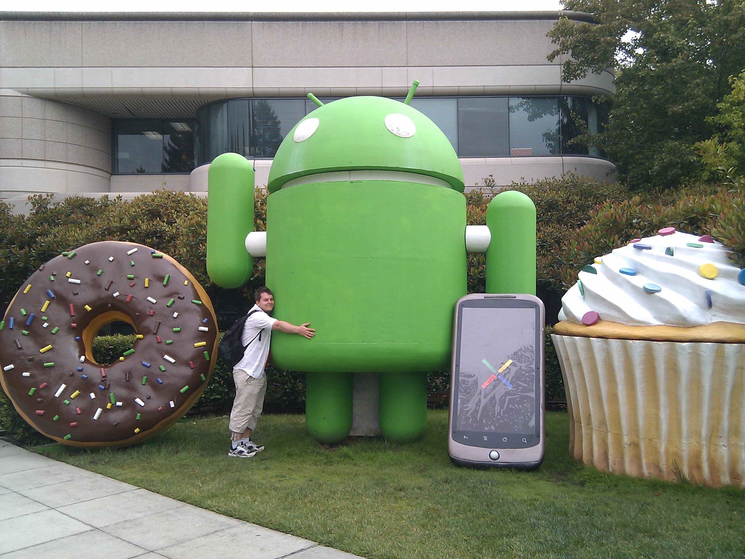 Me hugging the android outside building 44