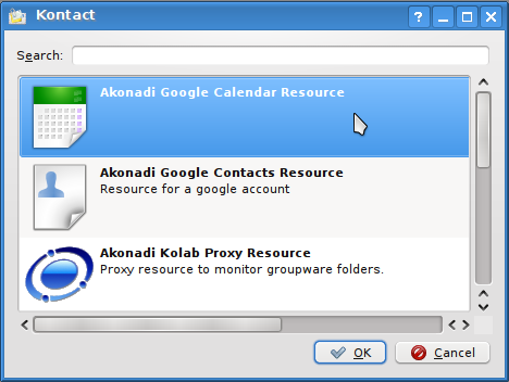 Google Caldendar integration with Kontact Korganiser 5