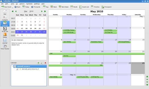 Google Caldendar integration with Kontact Korganiser 7