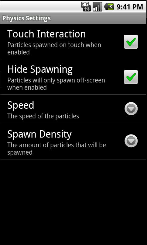 Nexus Revamped Live Wallpaper Physics Settings
