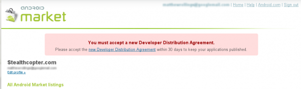 Updated Android Market Developer Distribution Agreement