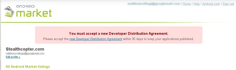 Updated Android Market Developer Distribution Agreement