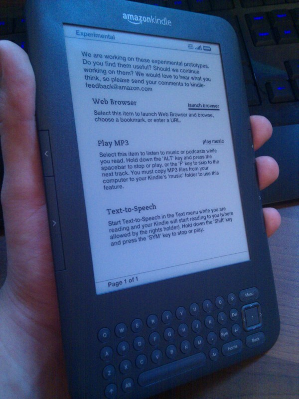 Amazon kindle 3G (Experimental settings; Web browsing, mp3 player, and text to speech)