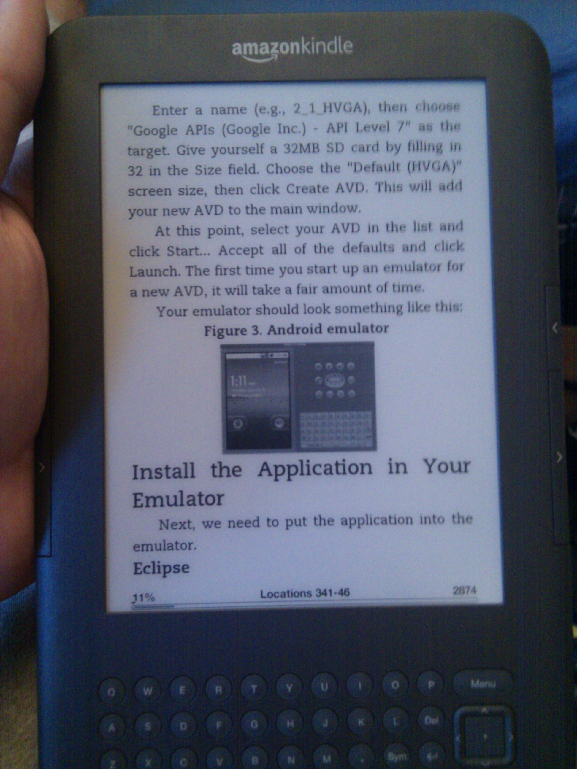 Amazon kindle 3G reading a nice android pdf with images