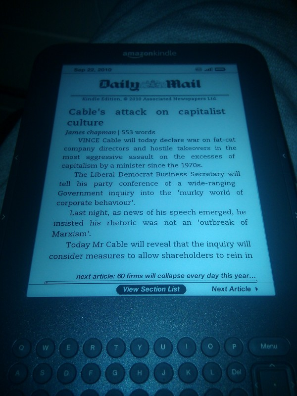 Daily Mail viewed on the kindle, no crossword or puzzle page though :(