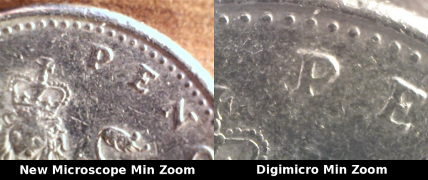 Comparison of microscopes at minimum zoom level