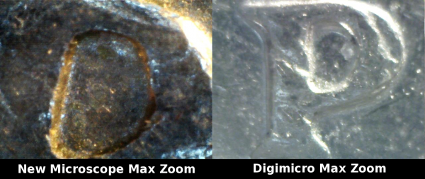 Comparison of microscopes at maximum zoom level