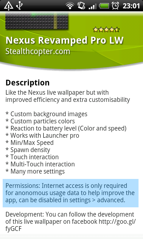 Internet permission explanation in android market for nexus revamped live wallpaper